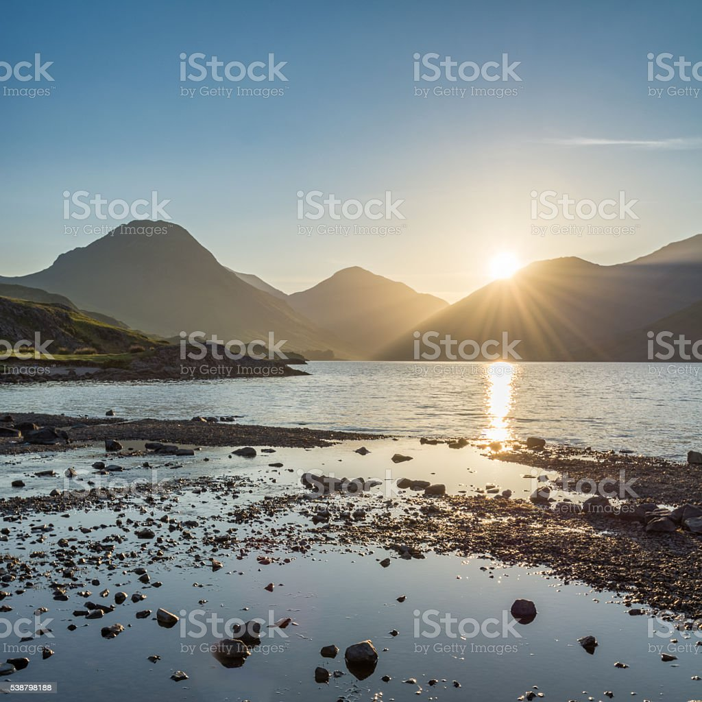 Golden Sunrise At Wastwater In The English Lake District. stock photo