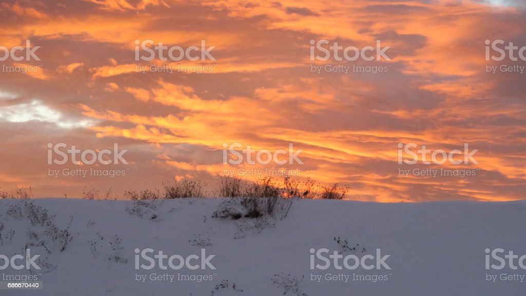 Golden sunrise - from a sawmill in the small swedish town Mora in the county Dalarna. stock photo