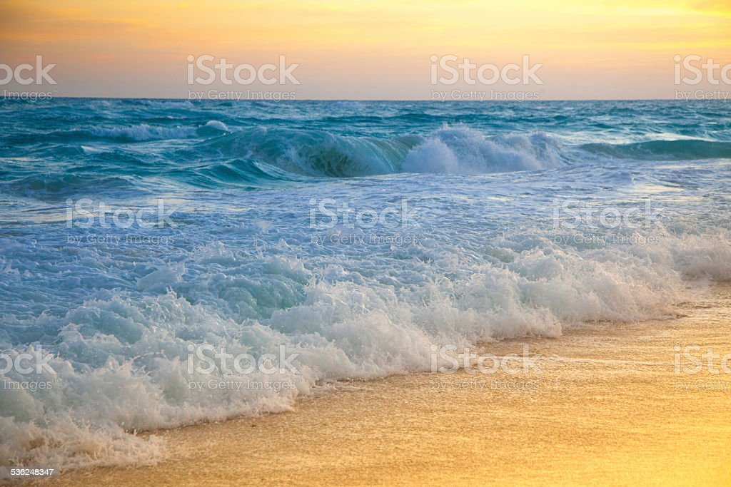 Golden sunrise on a tropical island stock photo