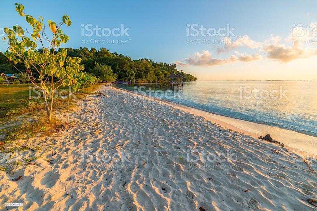 Golden sunrise on desert beach stock photo