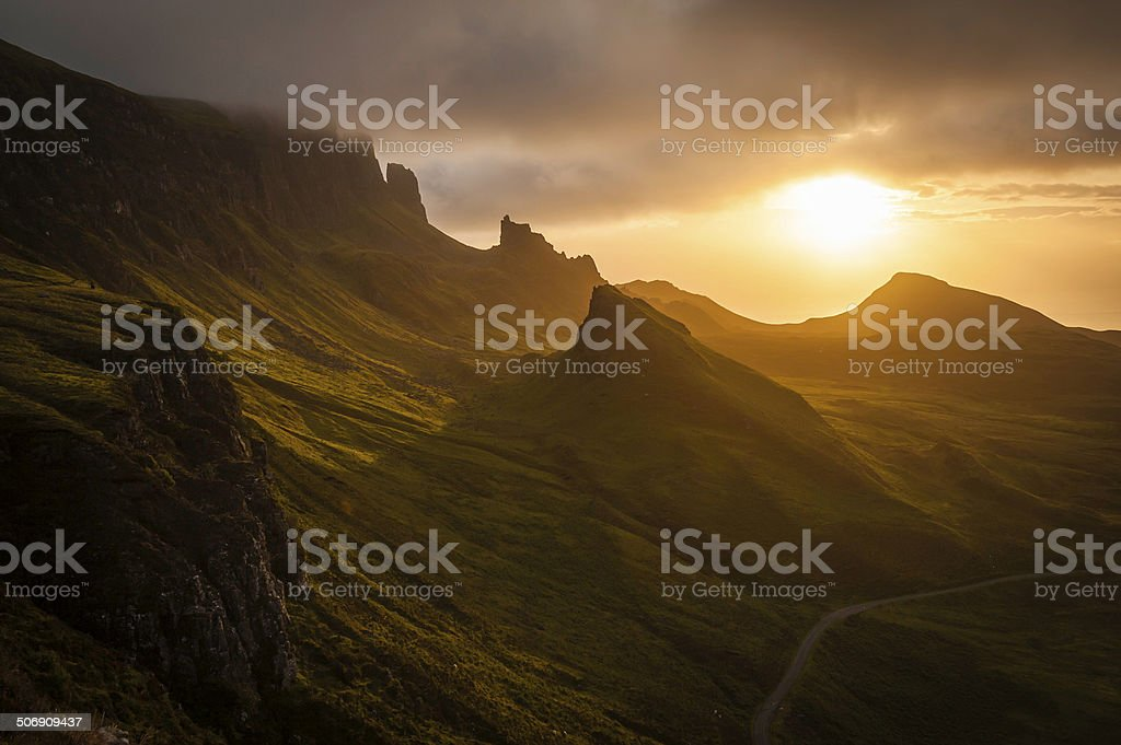 Golden sunrise over dramatic mountain landscape in Highlands of Scotland royalty-free stock photo