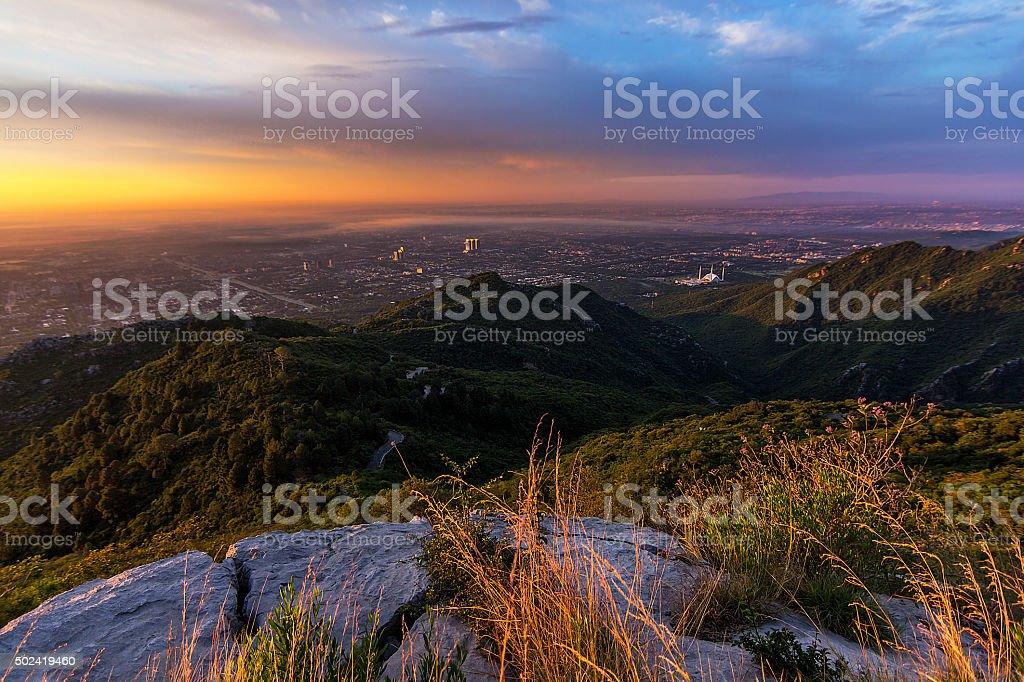 Golden Sunrise Over Islamabad stock photo