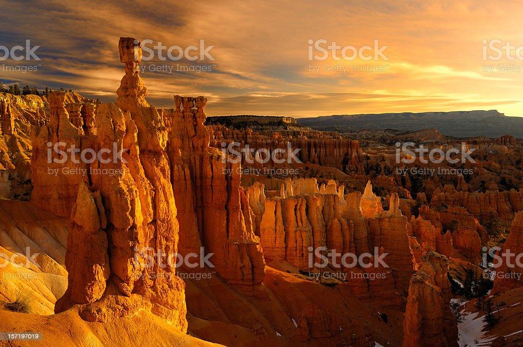 Golden sunrise reflecting on Thor's Hammer Hoodoo stock photo