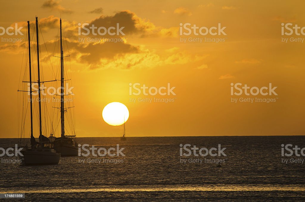 golden sunset and yachts royalty-free stock photo