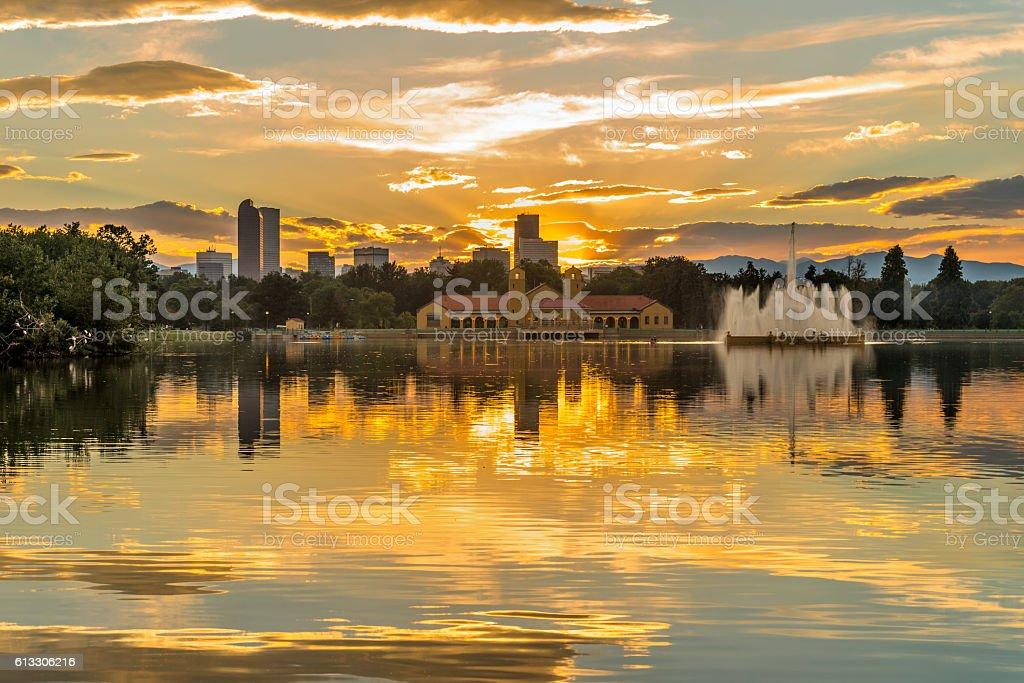 Golden Sunset at City Park stock photo