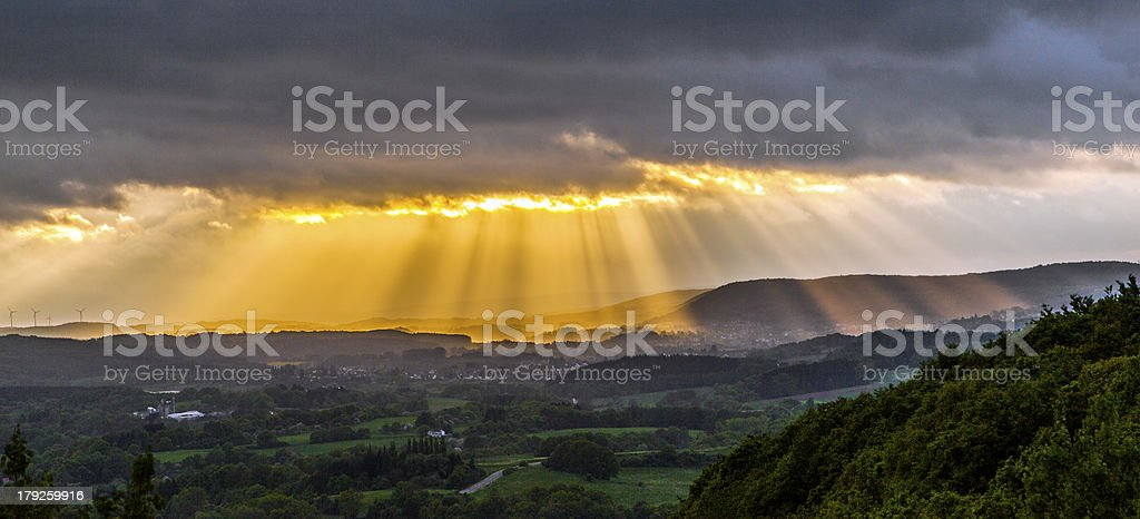 golden sunset at the  mountains royalty-free stock photo