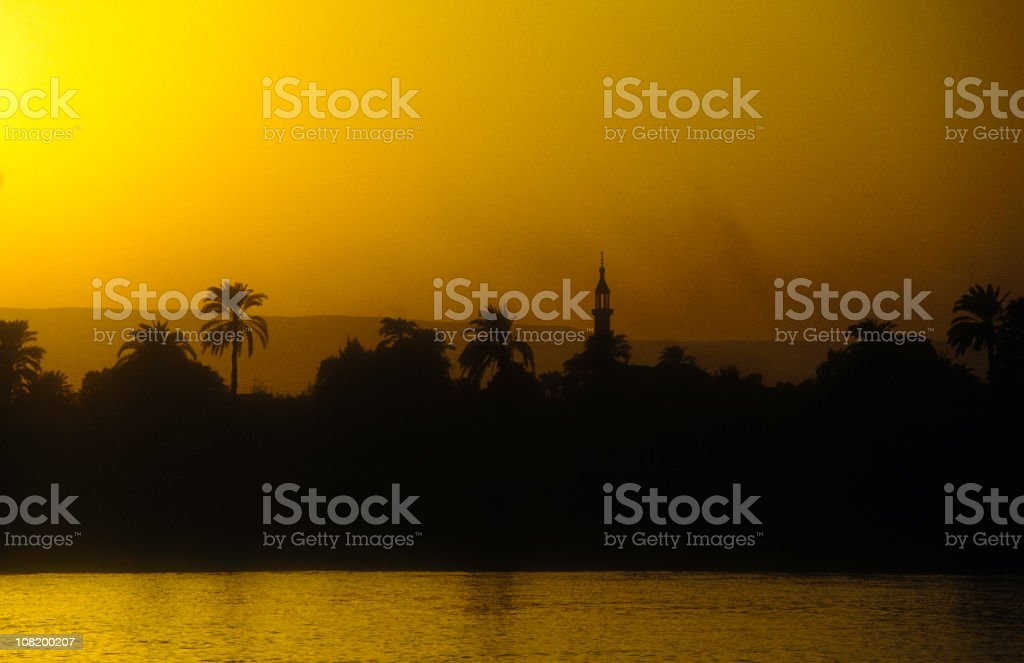 Golden Sunset at the Nile River, Egypt (1) royalty-free stock photo