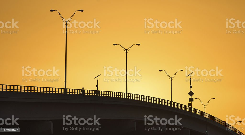 Golden Sunset Bridge stock photo