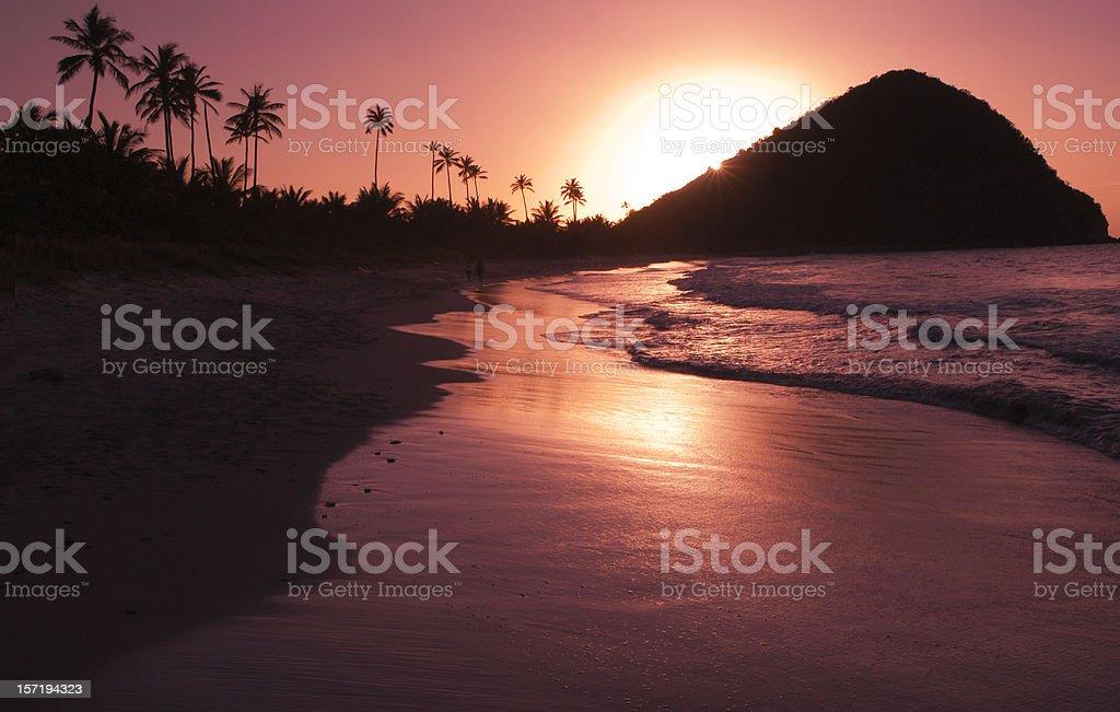 Golden Sunset Caribbean Island Beach stock photo
