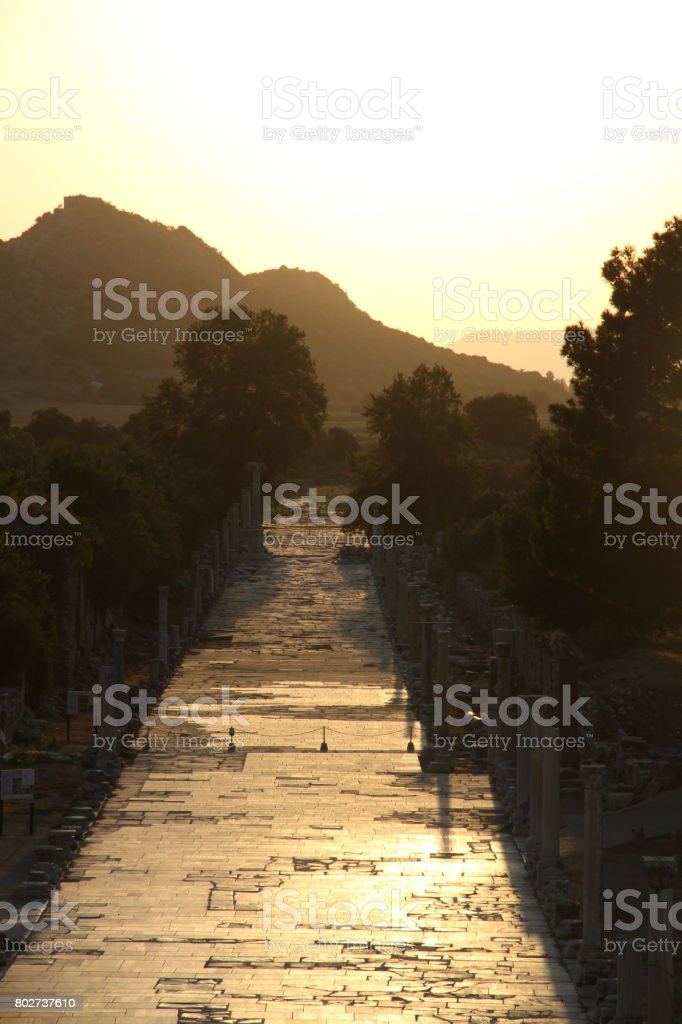 Golden Sunset in Ephesus stock photo