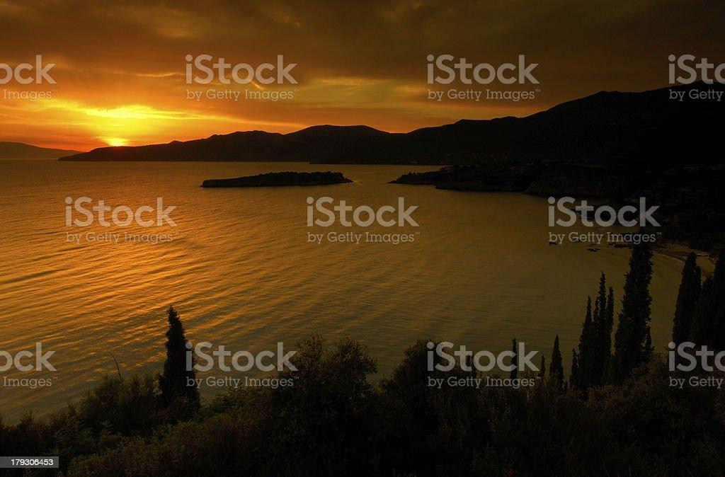 Golden sunset in Kardamili stock photo