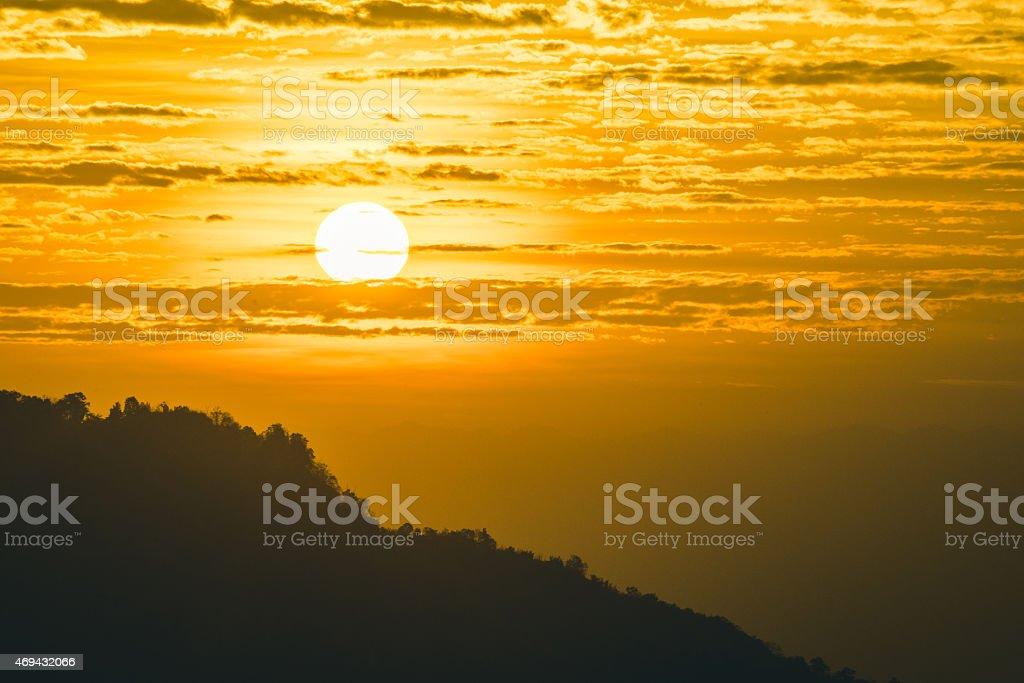 Golden Sunset in Thailand stock photo