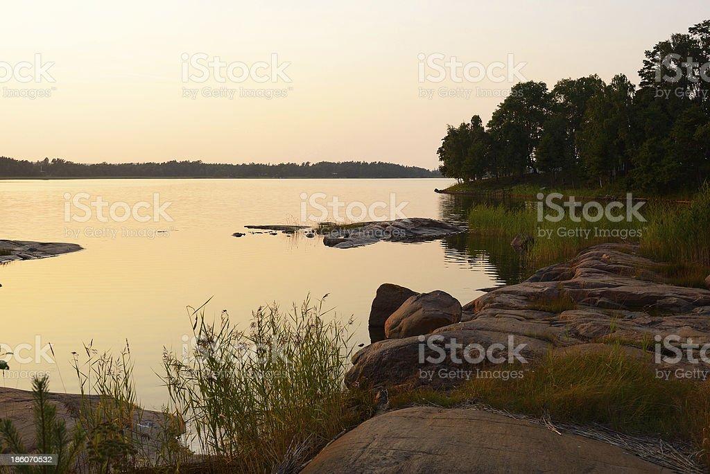 Golden sunset on Baltic Sea stock photo