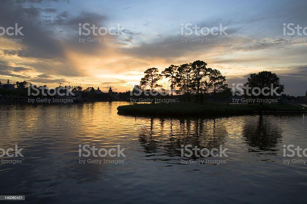 Golden Sunset on Small Island royalty-free stock photo