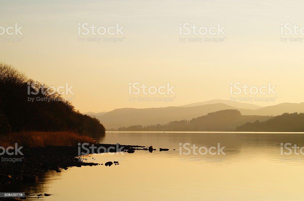 Golden Sunset on Still Bala Lake stock photo
