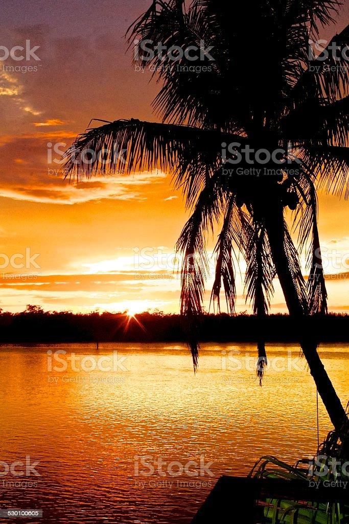 Or coucher de soleil sur la mer photo libre de droits
