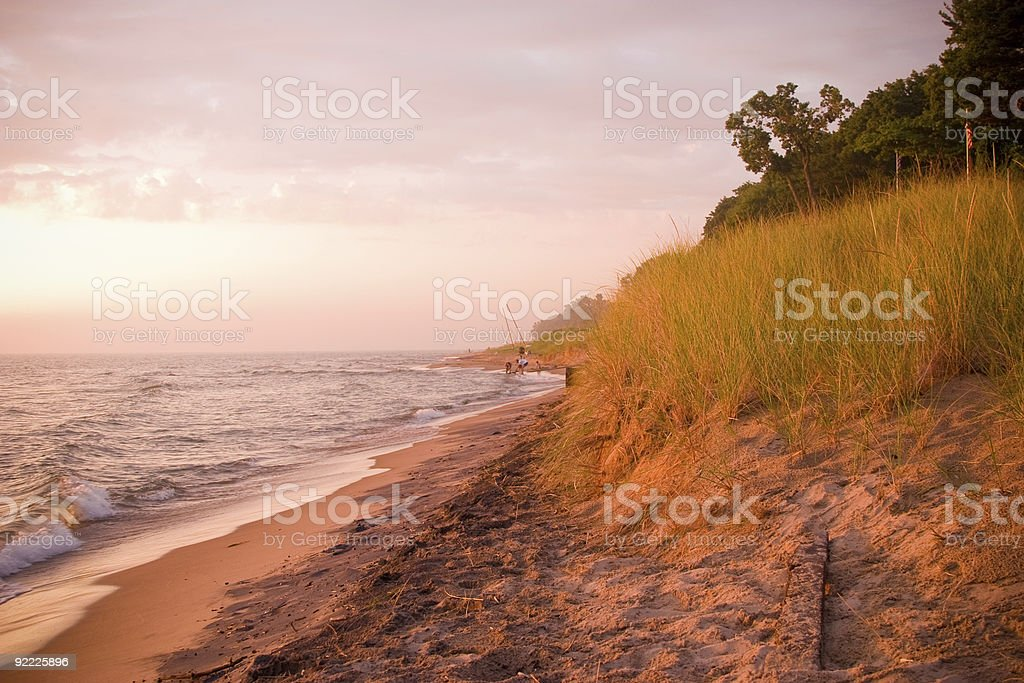 Golden Sunset on the Shore in Holland stock photo