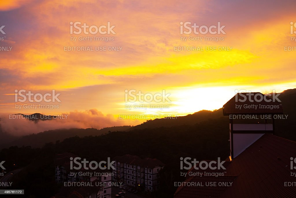 Golden sunset over Heritage Hotel in Tanah Rata stock photo