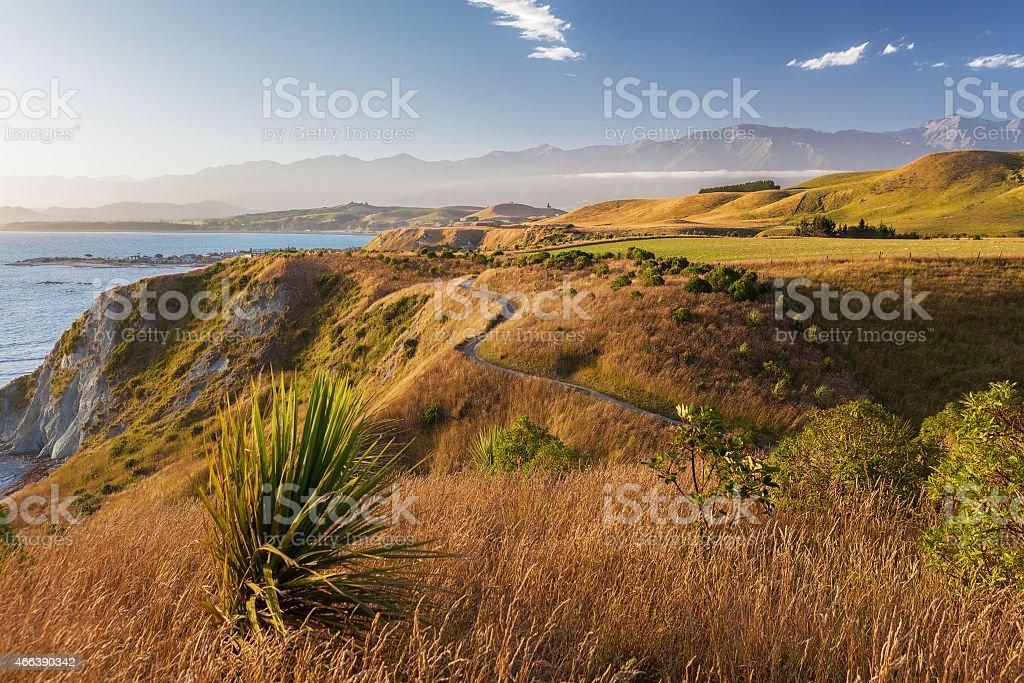 Golden sunset  over Kaikoura Peninsula Walkway, New Zealand stock photo