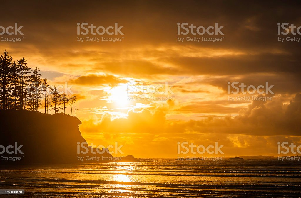 Golden sunset over Pacific Ocean forest headland beach Oregon coast stock photo