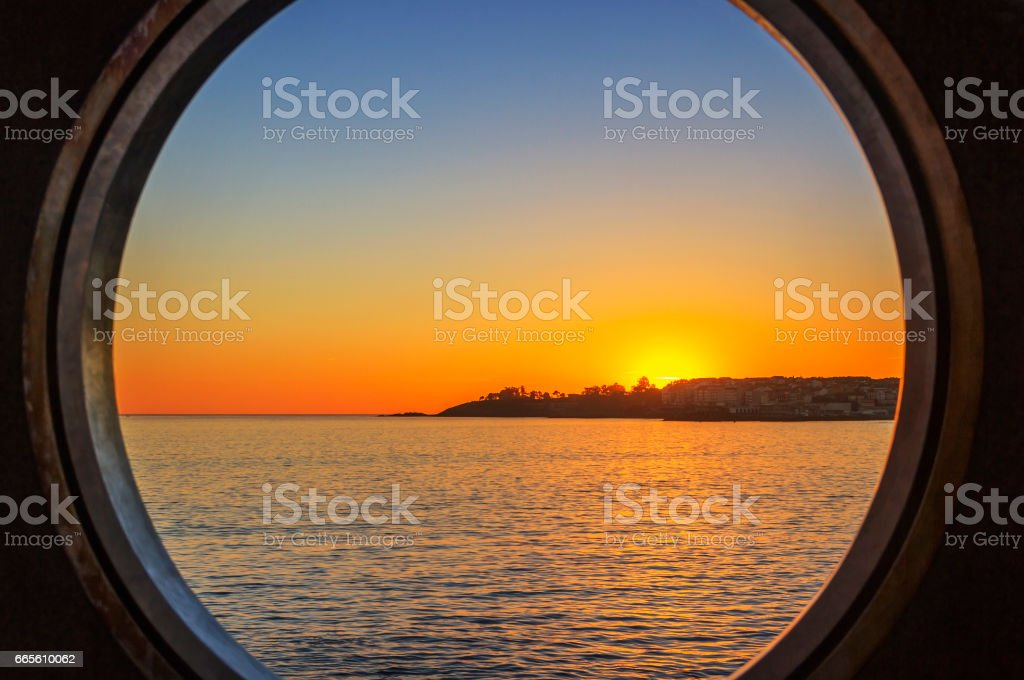 Golden sunset over Portonovo stock photo