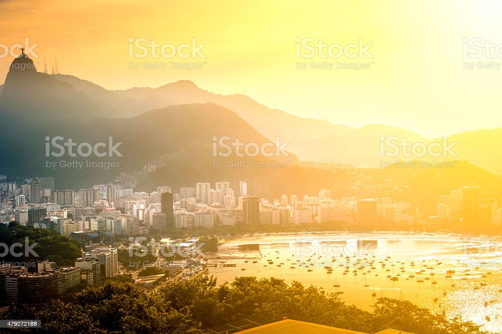 Golden sunset with view of Rio de Janeiro, Brazil stock photo