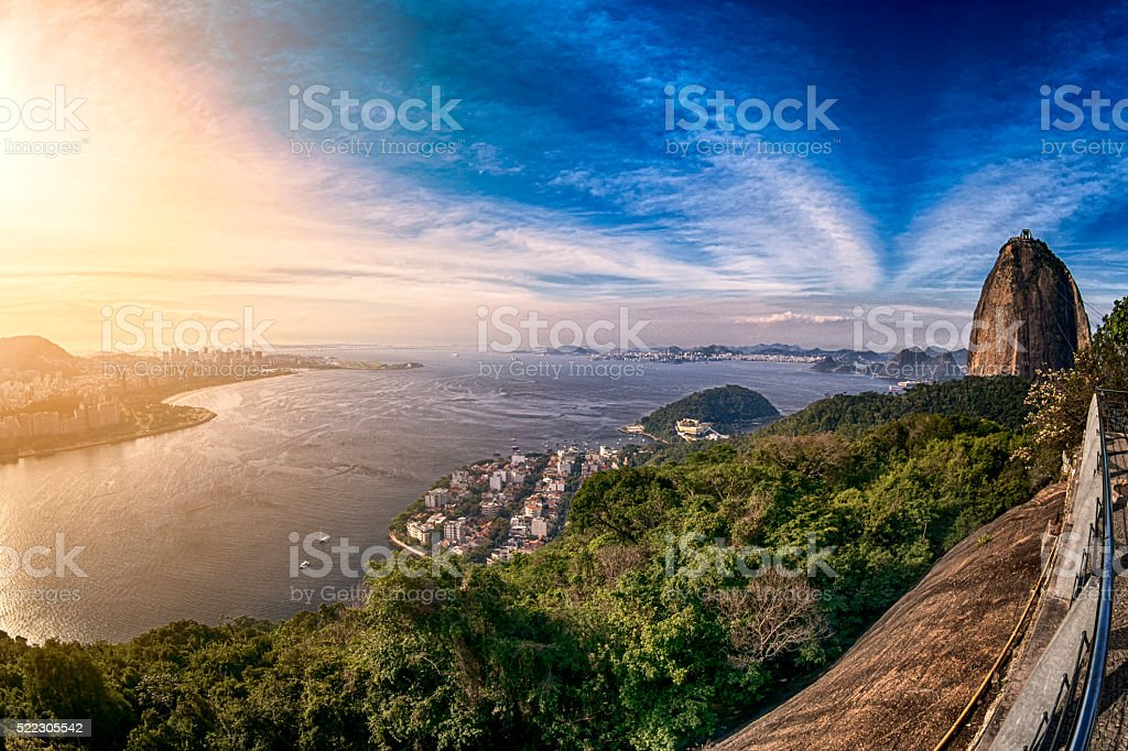 Golden sunset with view of Rio de Janeiro, Brazil stock photo