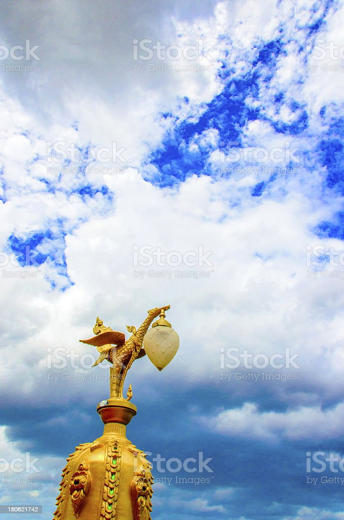 Golden swan statue royalty-free stock photo