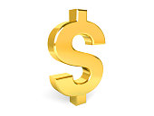 Golden symbol of dollar. Collection. 3d rendering