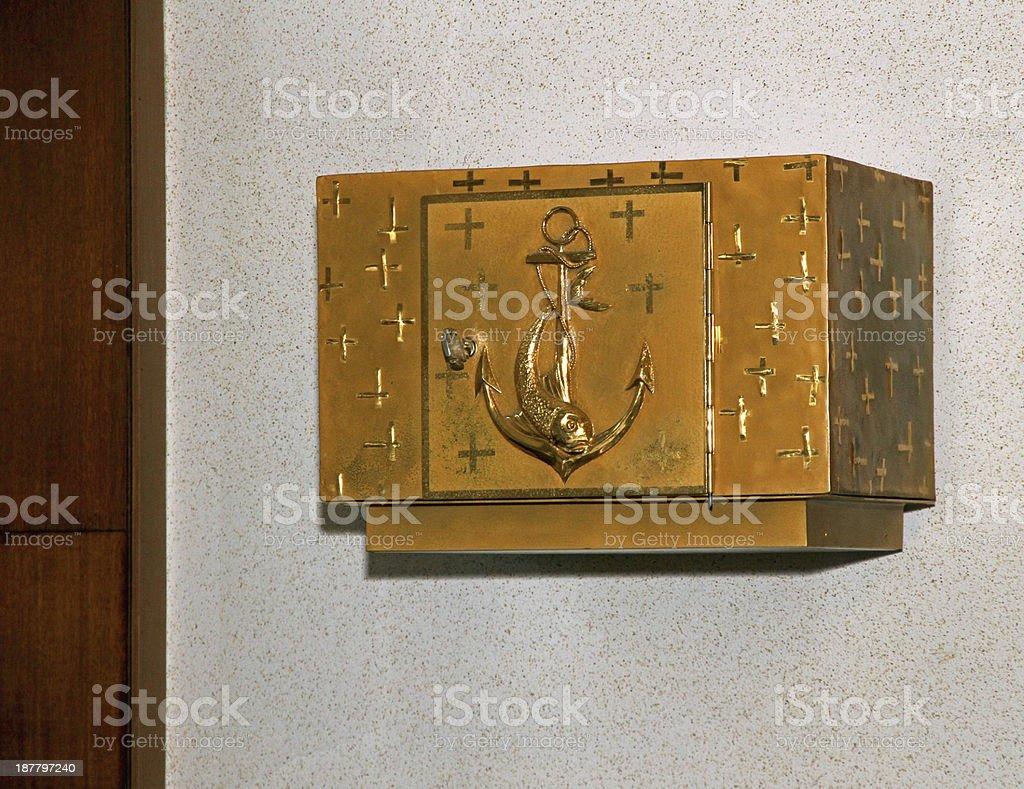 Golden Tabernacle of a Catholic Church stock photo