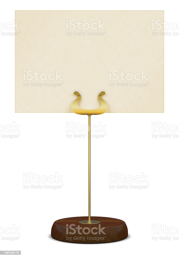 Golden table stand with wooden base stock photo