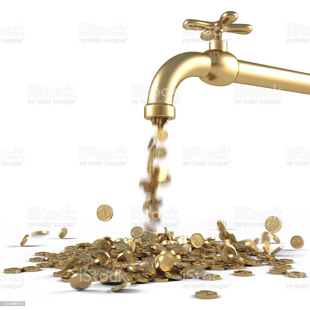 A golden tap spilling out gold stock photo