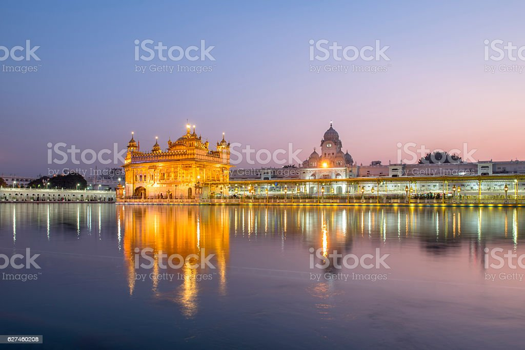 Golden Temple against pinky sky in Amritsar, India stock photo