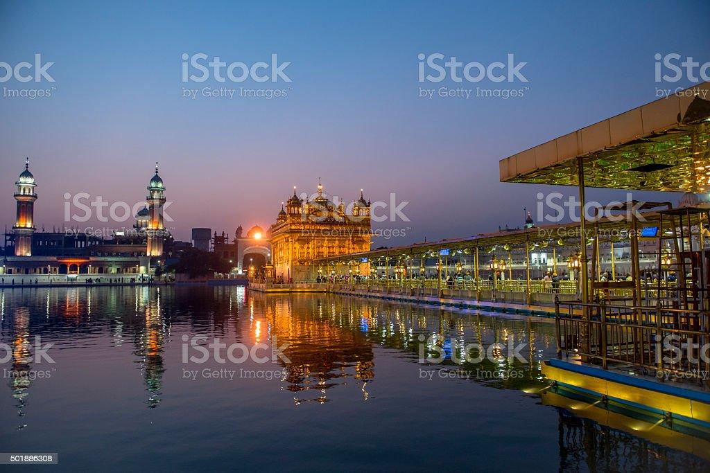 Golden Temple and its reflection before sunrise, Amritsar, India stock photo