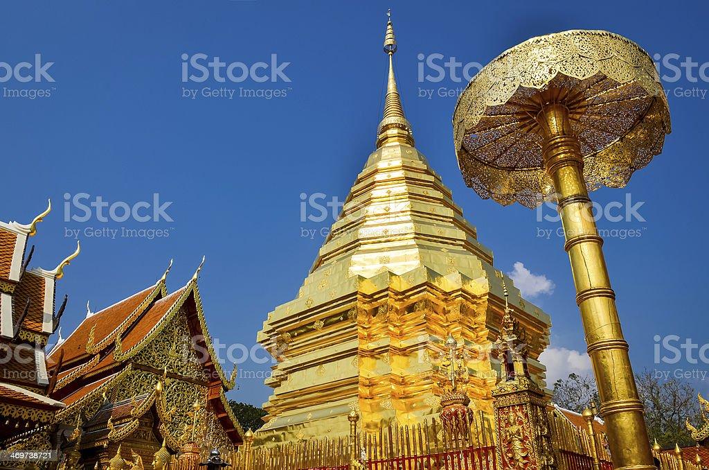 Golden temple Wat phra That, Doi Suthep, Chiang Mai, Thailand royalty-free stock photo