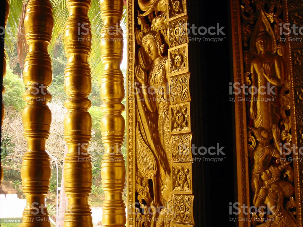 golden temple window art laos royalty-free stock photo