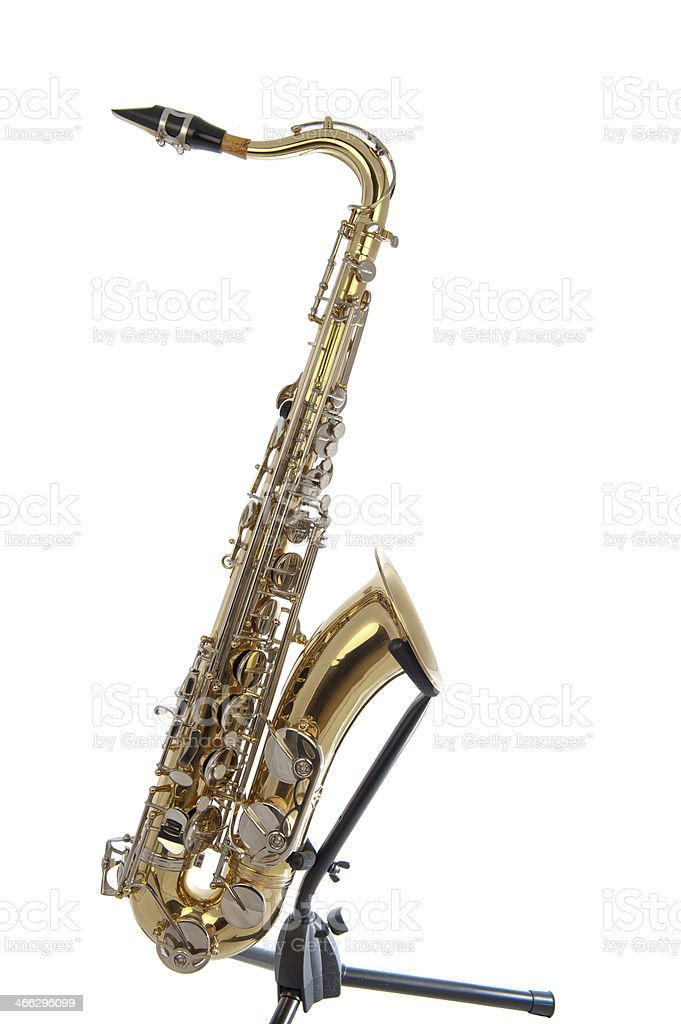 Golden tenor sax with silver valves stock photo