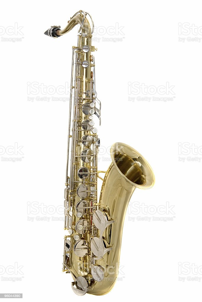 A golden tenor saxophone on a white background stock photo