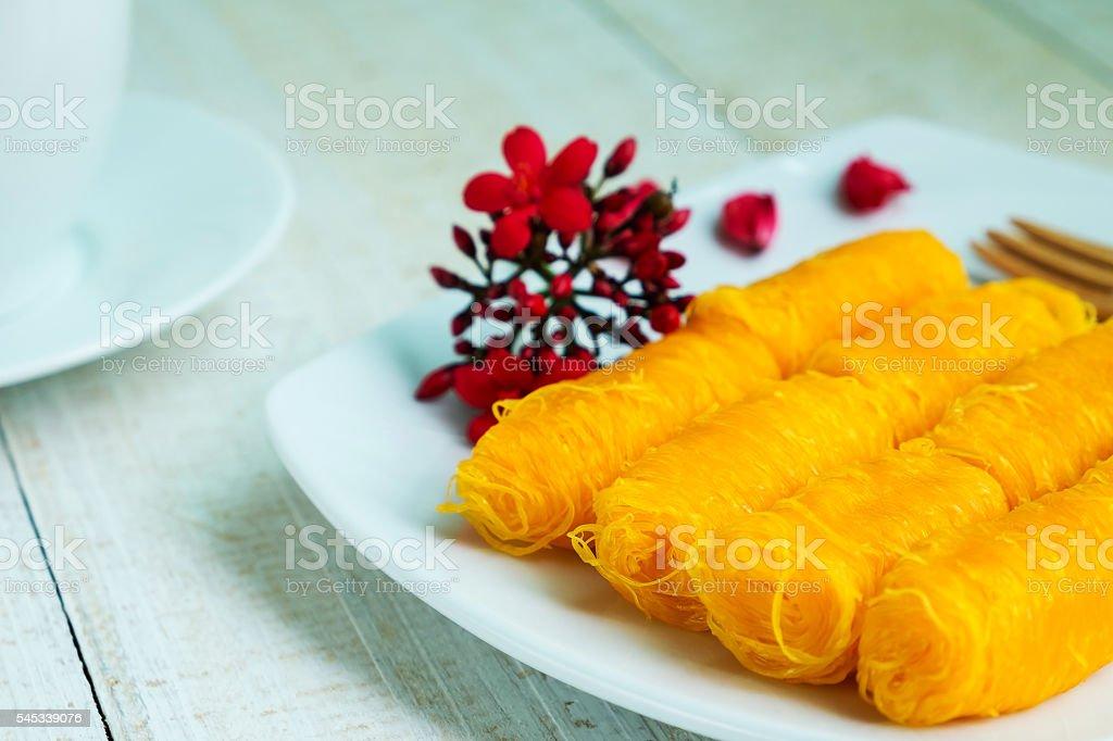 Golden Threads, Thai Traditional Dessert Lizenzfreies stock-foto