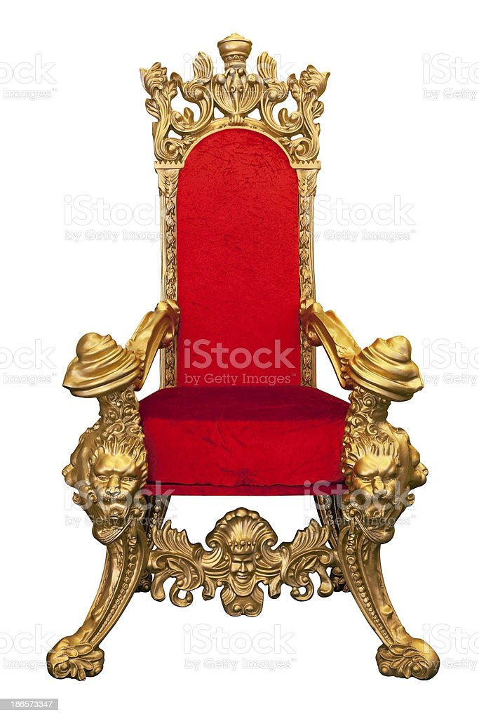 Golden throne with red cushion isolated on white stock photo