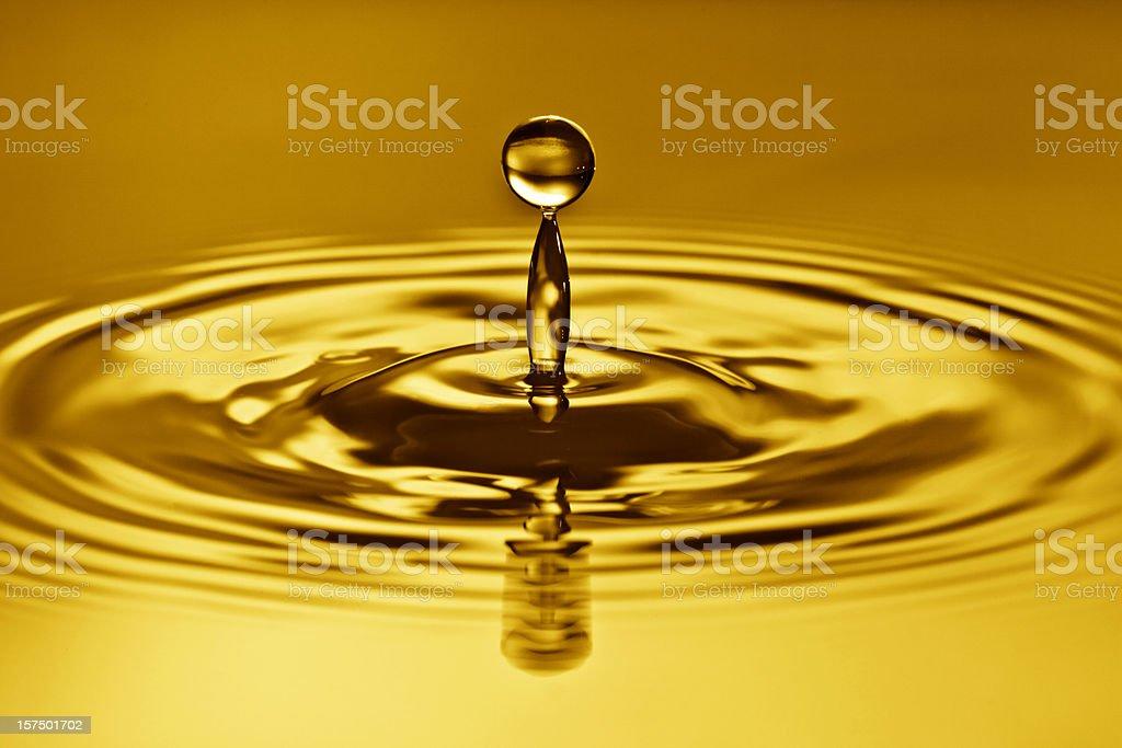 Golden time, waterdrop splash. stock photo