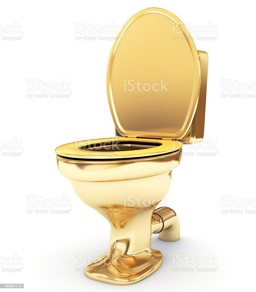 Golden toilet bowl as a  status royalty-free stock photo