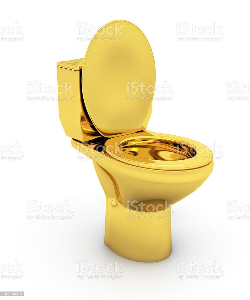 Golden Toilet bowl stock photo