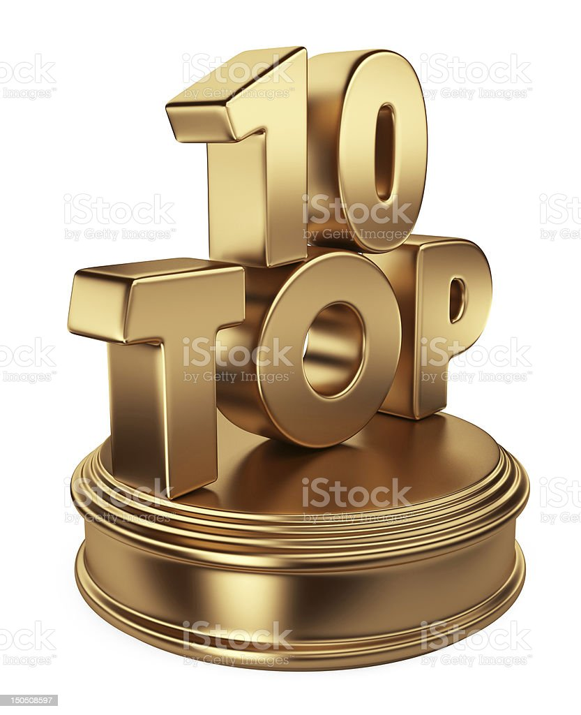 Golden top 10. 3D icon isolated stock photo