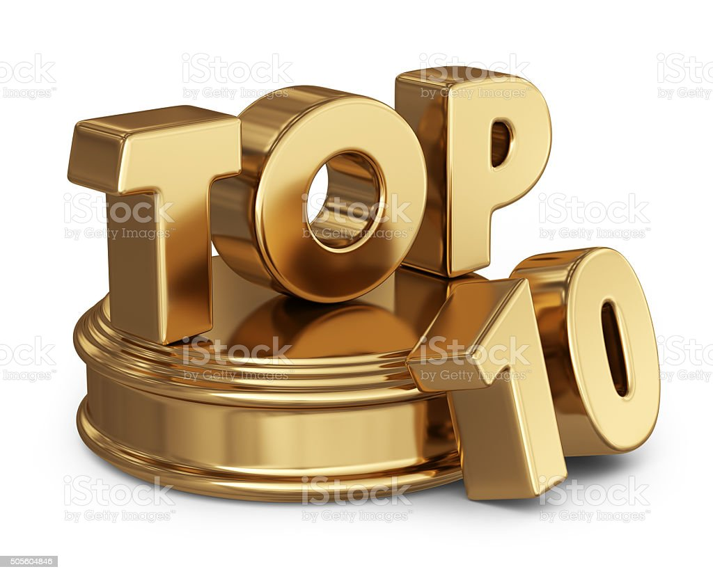 Golden top 10 list. 3D icon isolated stock photo