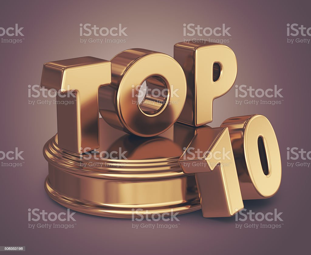 Golden top 10 list. 3D illustration stock photo