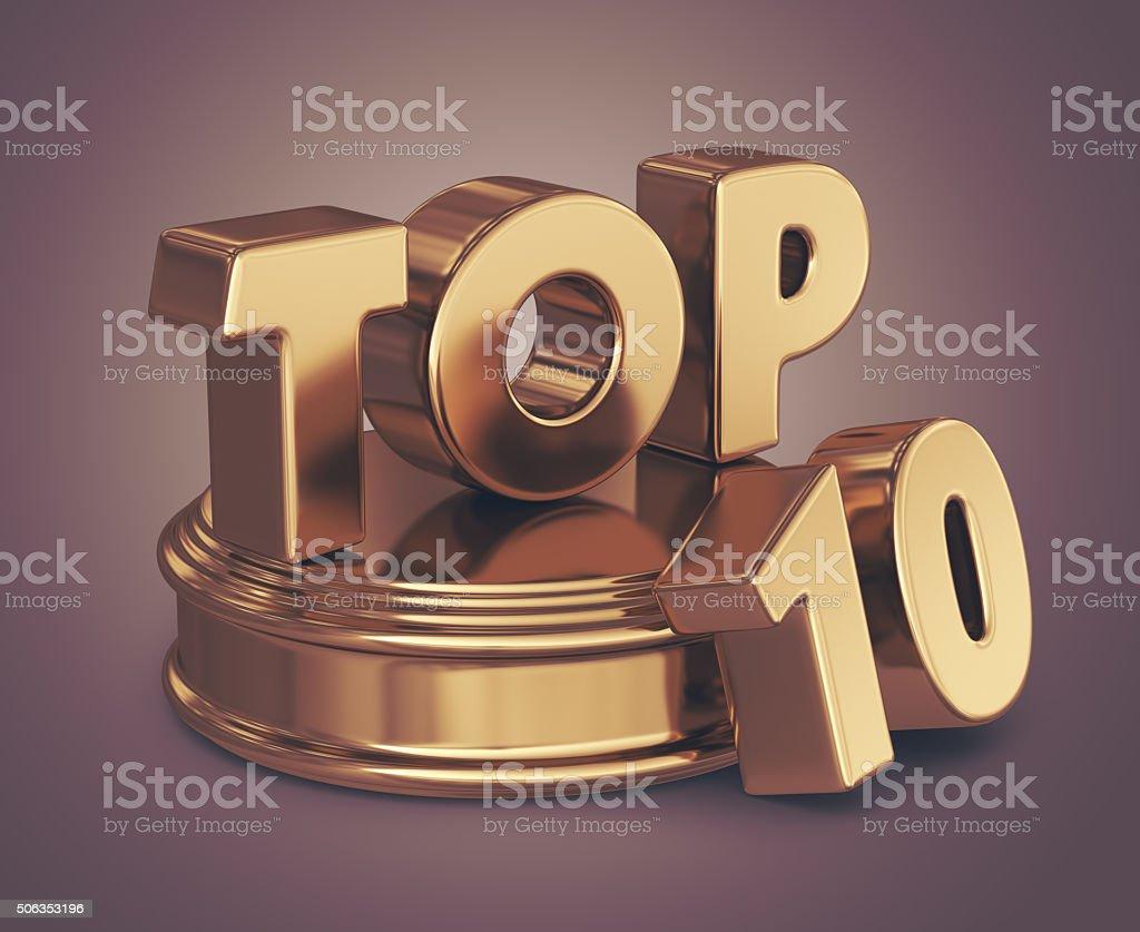 Golden top 10 list. 3D illustration stock photo