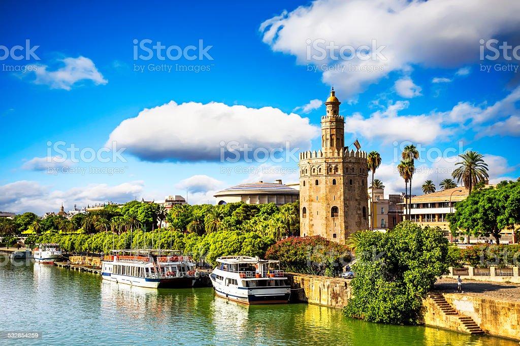 Golden tower (Torre del Oro) in Seville, Spain. stock photo