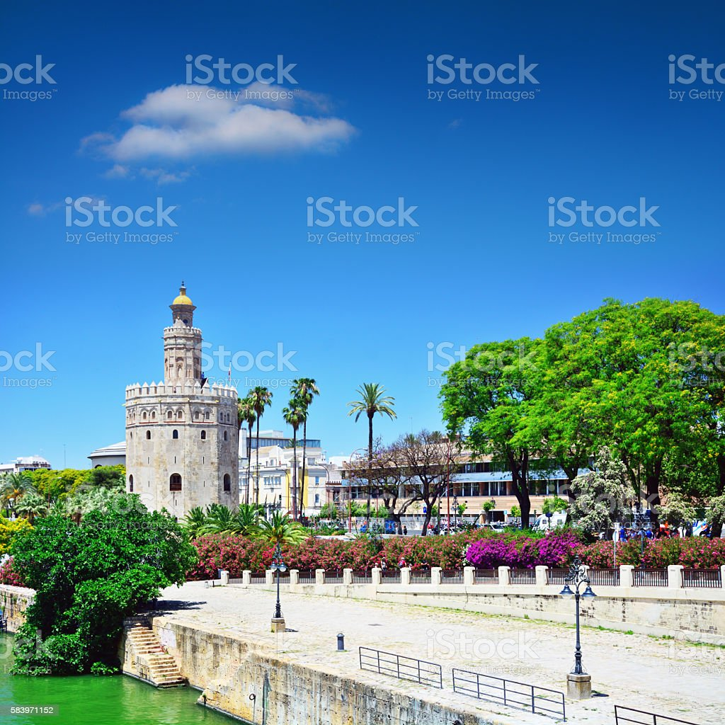 Golden tower, Seville stock photo