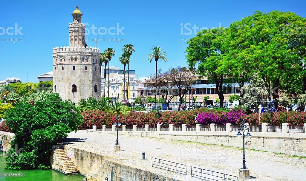 Golden tower, Seville stock photo